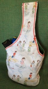 A fun and easy beach bag using some retro print. Big enough to carry all your beach accessories and towel and easy to make!