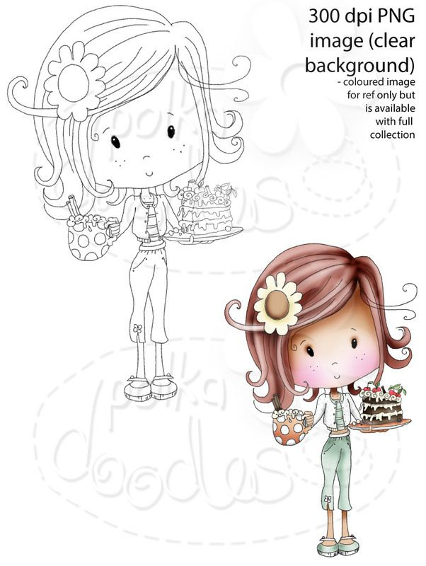 Winnie Sugar Sprinkles Springtime - Cake and chocolate with Miss Candy Cremepuff! - Printable Digital Stamp Download - Polkadoodles Ltd