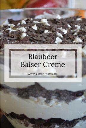 Leckeres Rezept für Blaubeer Baiser Creme Mascarpone. Nachtisch, Dessert.