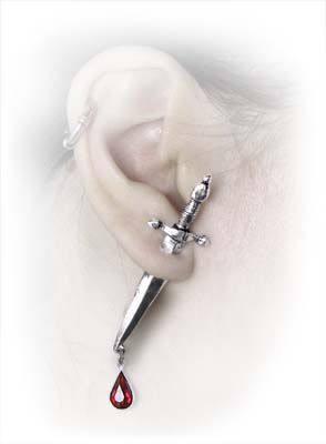Cesares Vetro Sword Post Earring AG-E257 by Alchemy Gothic Gothic, Vampire & Steampunk | Gothic Jewelry | Demonia