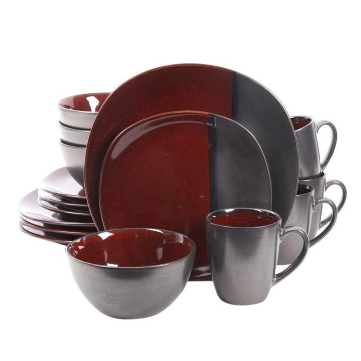 Volterra 16-Piece Red Stoneware Dinnerware Set