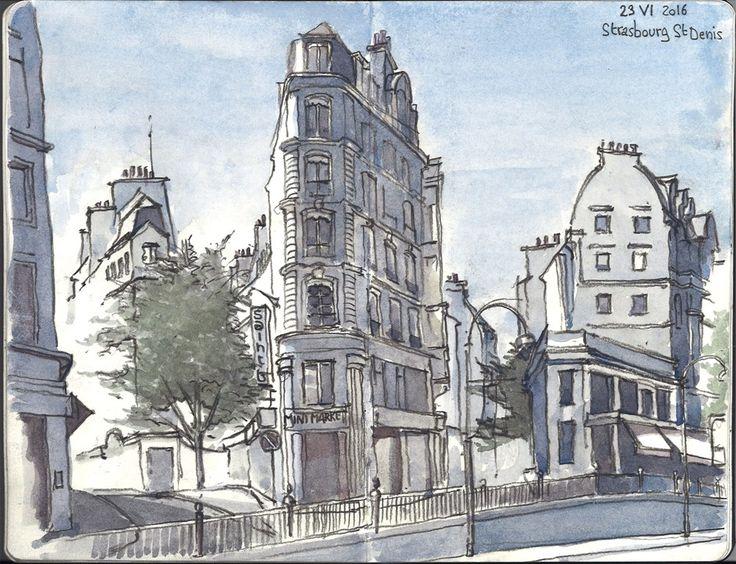 Dessin à l'aquarelle de Paris: Strasbourg saint Denis