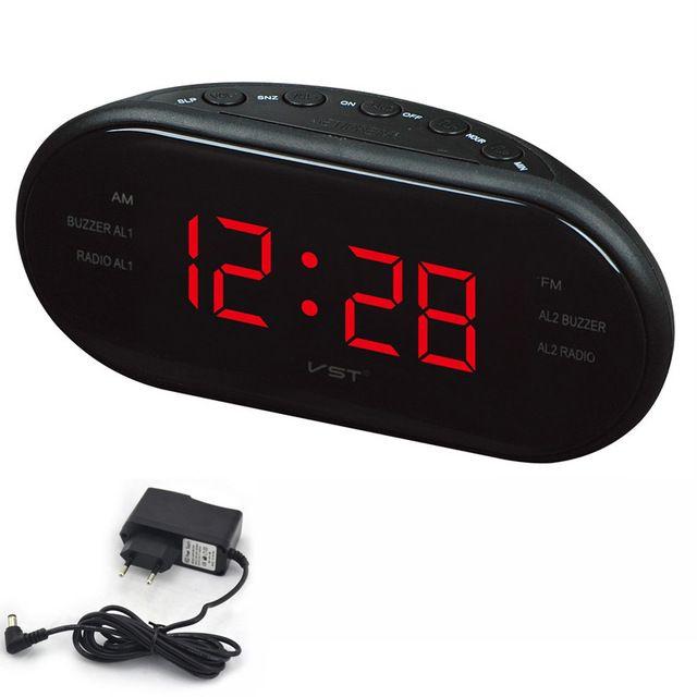 Large Led Digital Am Fm Radio Alarm Clock Electronic Table Watch