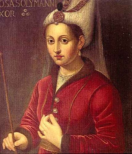 "Roxelana    Known also by her Turkish name of Khourrem (or Hürrem or Karima), meaning ""the cheerful one"", (circa 1500 - April 18, 1558) was the wife of sultan Süleyman the Magnificent of the Ottoman Empire."