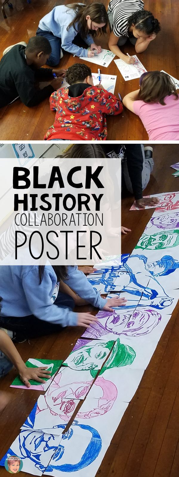 """Students will work together for Black History Month to create a collaboration poster of a variety of """"famous faces"""" that have made a difference. Each student gets to participate in coloring and cutting out their piece and then putting the poster together."""