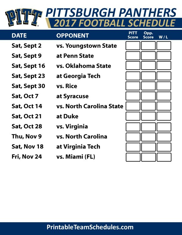 2017 Pittsburgh Panthers Football Schedule