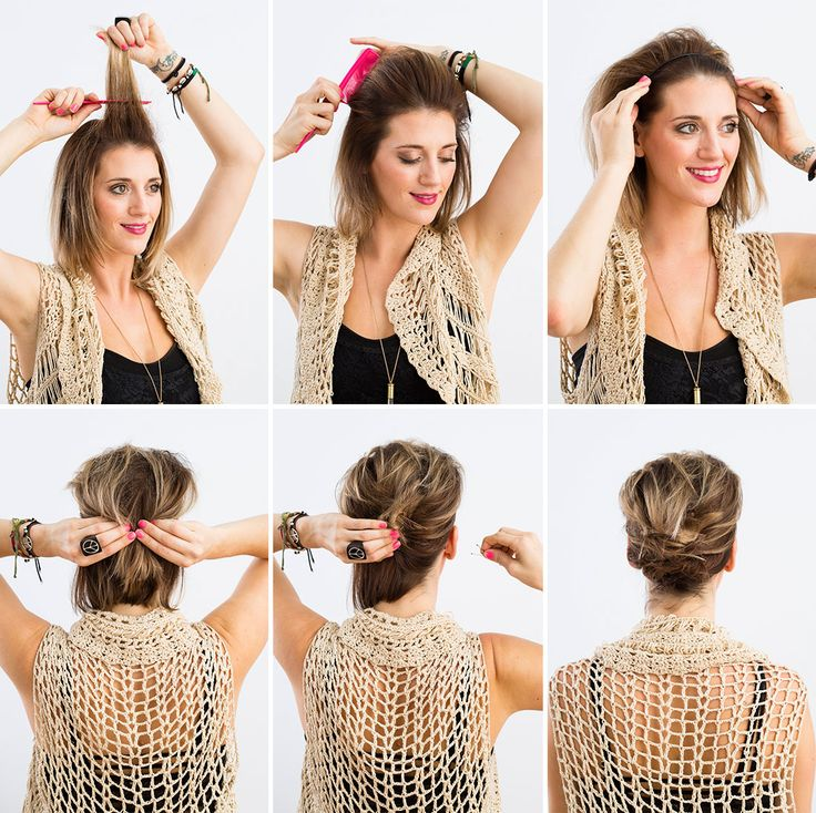 Use a headband and a few bobby pins to DIY this 'do.