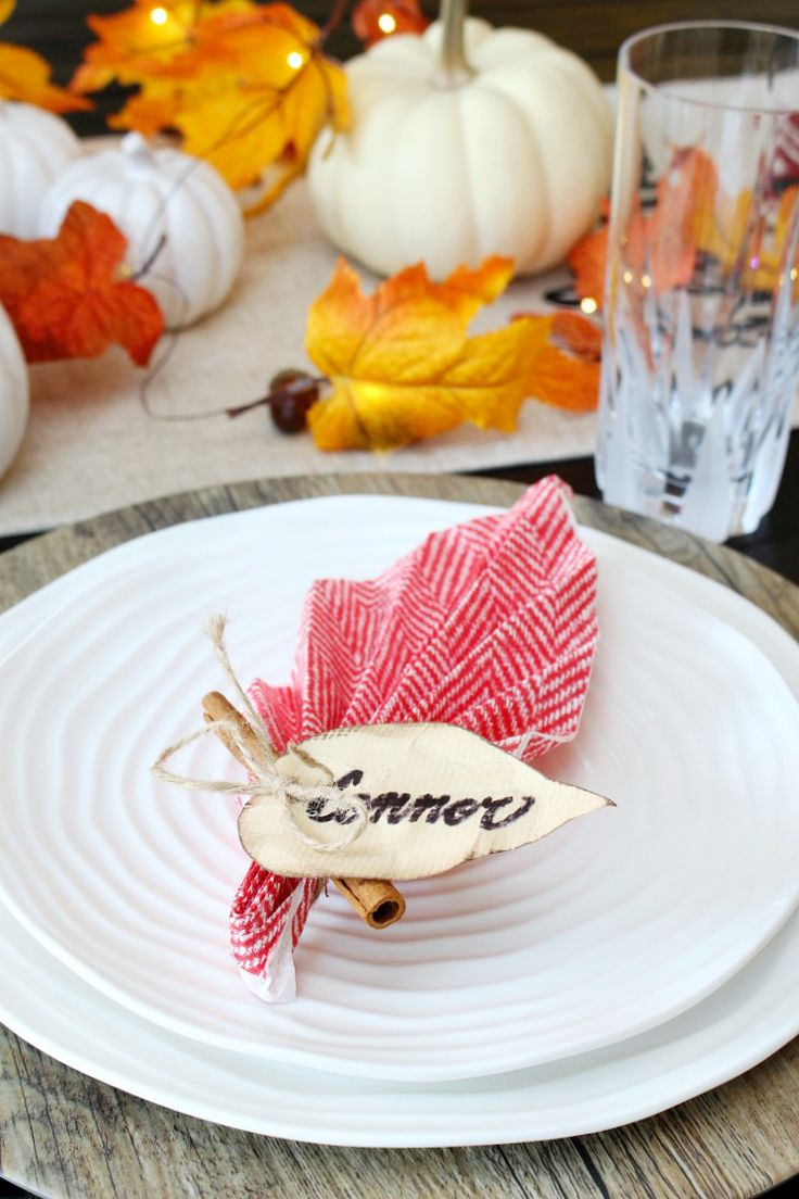 Add some charm to your Thanksgiving tablescape with these quick and simple leaf napkin folds! All you need is a regular paper napkin.