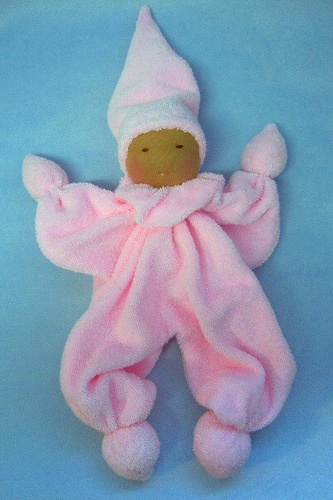 Pink washcloth doll by The Pine Cone Gnome