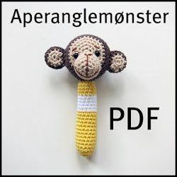 Kaptein Biff: Oppskrift/tutorial på hekla aperangle / Monkey rattle crochet pattern/tutorial