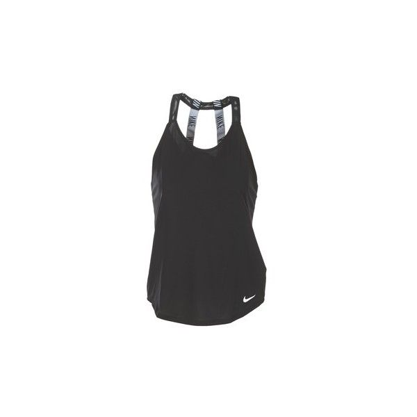 Nike NIKE BREATHE TANK ELASTIKA Vest top (£31) ❤ liked on Polyvore featuring tops, black, nike tank tops, nike singlet, nike, nike tank and nike tops