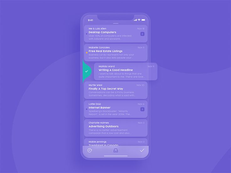 Mail Client mobile app transition animation