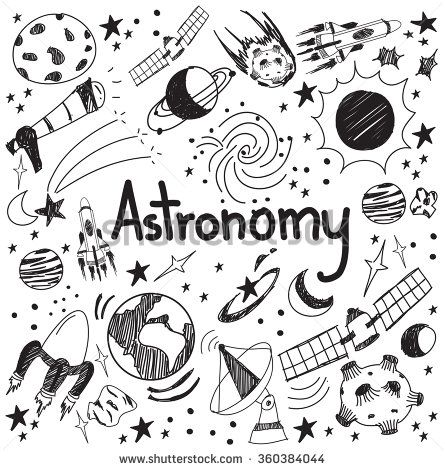 Astronomy science theory and drawing doodle handwriting icon of star planet and space transportation in white isolated background used for school education and document decoration, create by vector