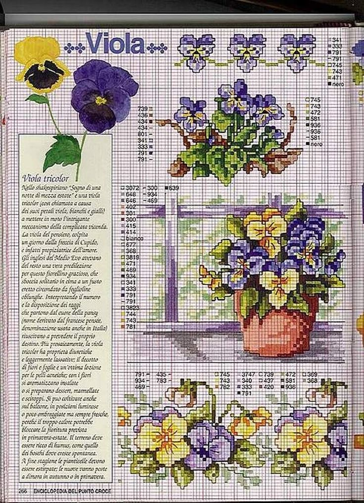 Free cross stitch pattern of Violets