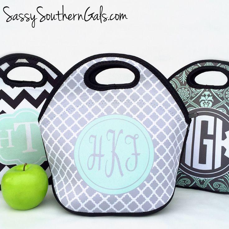 Monogrammed Lunchbox, Monogrammed Lunch Bags Insulated Neoprene, Monogrammed…