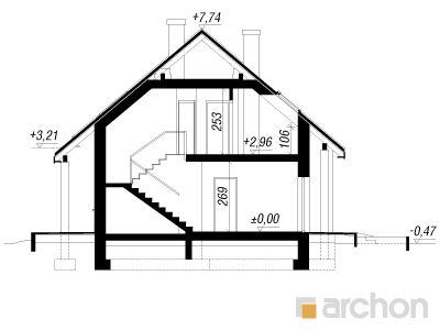 projekt Dom w złoci (A) przekroj budynku