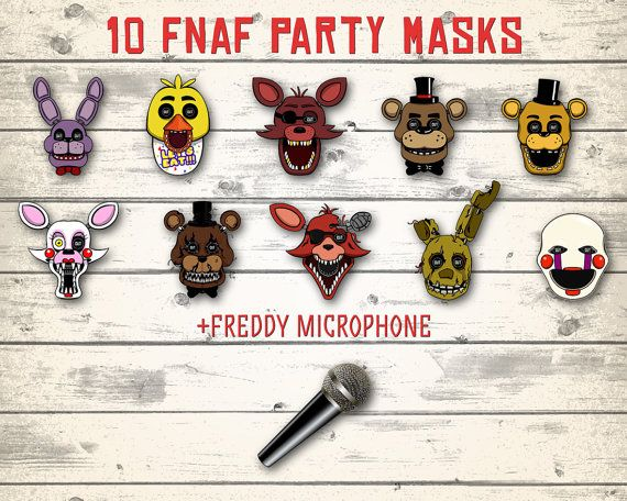 FNAF masks FNAF photo booth Five Nights at by DigitalBirthdayParty