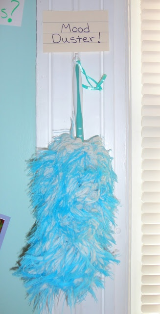 It looks just like an ordinary duster... but it works like magic! Simply dust off any cranky children and instantly smiles and laughter will ring throughout your home
