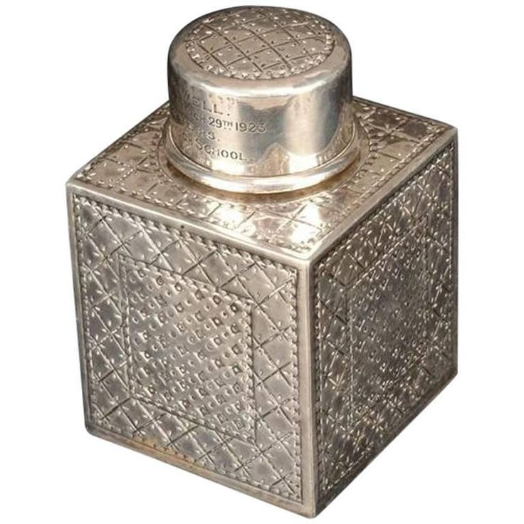 Liberty and Co. a Sterling Silver Square Tea Caddy, Birmingham, 1919 | From a unique collection of antique and modern tea sets at https://www.1stdibs.com/furniture/dining-entertaining/tea-sets/