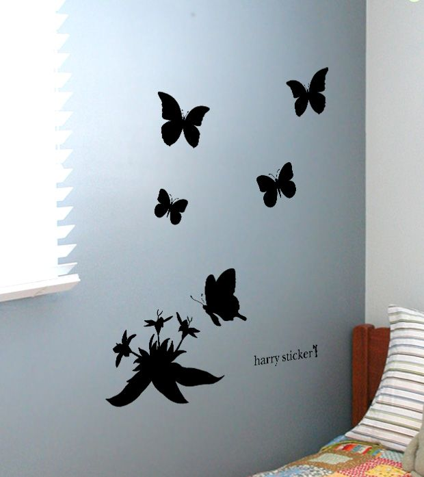 wallsticker flower-butterfly Wallpaper interior Design