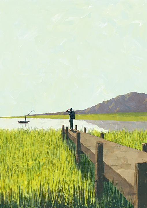 "釣り人とバックパッカー ""Fisherman and backpacker"" #illustration #landscape"