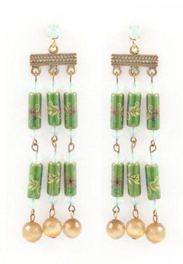Long green earrings, by Art Wear Dimitriadis