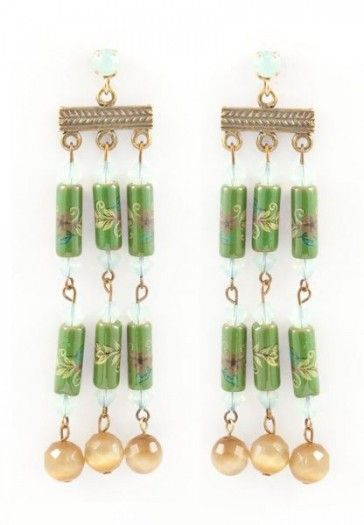 Long green earrings, by Art Wear Dimitriadis