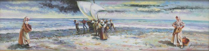 """Inmaculada Nicolau (20e eeuw) - """"Sacando la pesca""""  Maten:Met frame: 101 x 41 cm - zonder het frame: 80 x 20 cmPrachtige zilverkleurige frame en crème-ivoor sub frameSchilder van Alcoy geboren in 1958. Op zeer jonge leeftijd begon ze haar reis naar de wereld van de kunst. Ze studeerde Schone Kunsten en later ook studeerde kunst en ambachten. Haar passie voor schilderij maakte haar verkennen alle velden en meester van alle onderwerpen.Haar schilderijen zeggen veel met weinig. Hun licht…"""