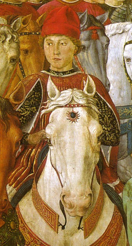 Benozzo Gozzoli, The Magi Chapel in Palazzo Medici Riccardi of Florence. This is a portrait of Galeazzo Maria Sforza.