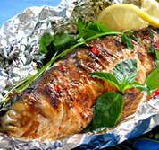 Tonight's dinner -- i made this with fillets of fish and just used soy, ginger and garlic, with lemon...nice. // Thai Whole Baked Fish