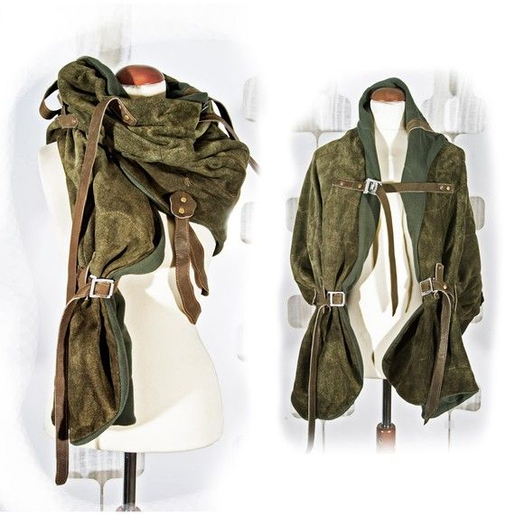 Moss Leather Shawl Wrap - Haute couture Fashion Accessory - Forest nature - urban warrior shoulder harness - Spring - brown - forest green