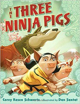 """The Three Ninja Pigs"", by Corey Rosen Schwartz and Dan Santat.  In this twist on ""The Three Little Pigs"" tale, Pig One and Two neglect their ninja school martial arts training and are no match for the wolf, but Pig Three's practice and dedication saves the day."