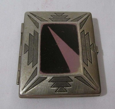 Vintage Silvertone Enameled Art Deco Compact Rouge with Original Pad | eBay