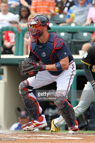 Tyler Flowers of the Braves at catcher during the spring training game between the Pittsburgh Pirates and the Atlanta Braves on March 13, 2017 at Champion Stadium in Lake Buena Vista, Florida.