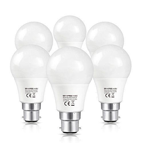 SHINE HAI Ampoule LED B22 A60, Equivalent 60W à Ampoule Incandescente /Halogène, 8W,Blanc Naturel 4000K, Ampoule Sphérique, 800LM, Angle de…