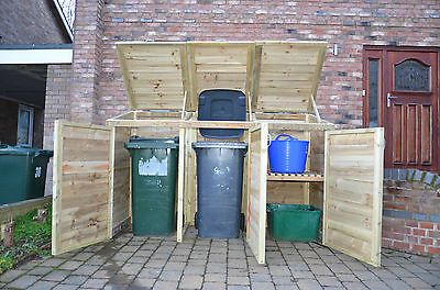 Triple Wheelie Bin Tidy Store/Cover/Shed/Storage Unit, With Recycling Box Option