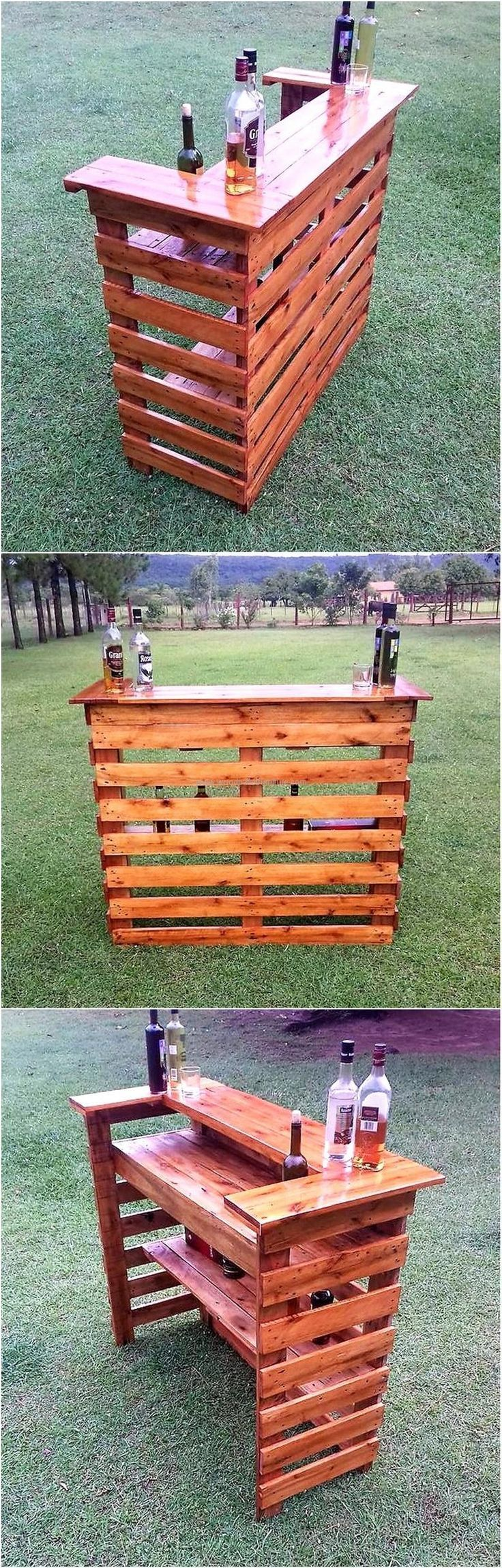 upcycled wood pallet bar. Tons of different projects for all parts of the house. really inspired for my future home. easy diys.