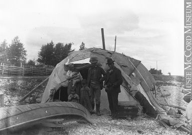 MP-0000.27.143 | Montagnais Indians and wigwam, Roberval, QC, about 1900 | Photograph | Wallis & Shepherd