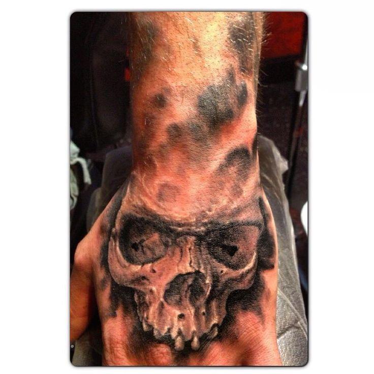 Black and Grey Skull Hand Tattoo