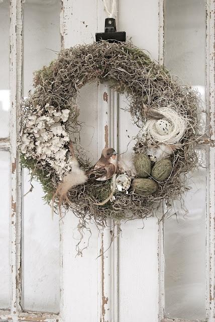 Use my white wreath have and add white bird, white nest & white eggs.
