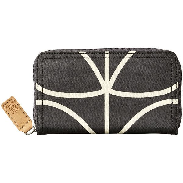Orla Kiely Big Zip Purse - Linear Stem Print - Licorice ($105) ❤ liked on Polyvore featuring bags, wallets, orla kiely wallet, zip wallet, zipper wallet, print bags and zipper bag