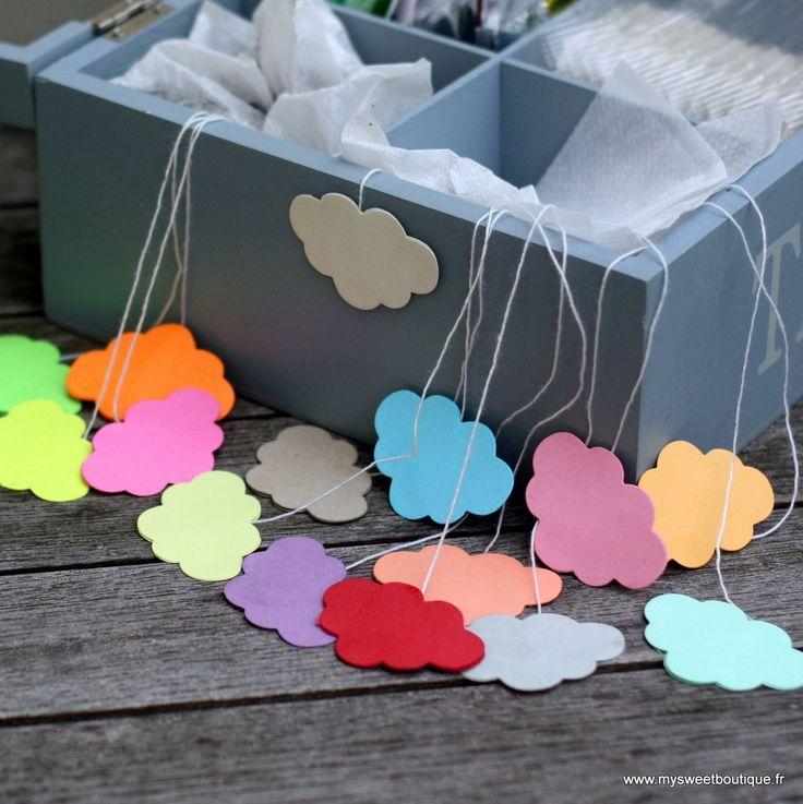 """4 sachets de thé """"nuage"""" à remplir - couleurs classiques ou fluo by My Sweet Boutique"""