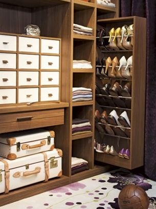 clever idea to store shoes...need 5x as many though! His and hers closets too...plz :) Transfer