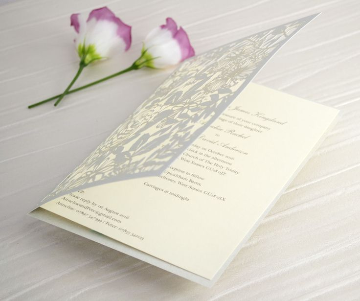 Personalised Floral Lace Laser Cut Wedding Invitations With Inserts
