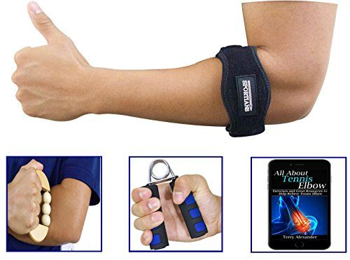 Ultimate 3-in-1 Tennis Elbow Brace Kit with Compression Pad, Massager, Arm Exerciser and Bonus E-book. Best Elbow Pain Support Strap for Tennis Players and Golfers. One Size Fits Most Women and Men ** Click image for more details.