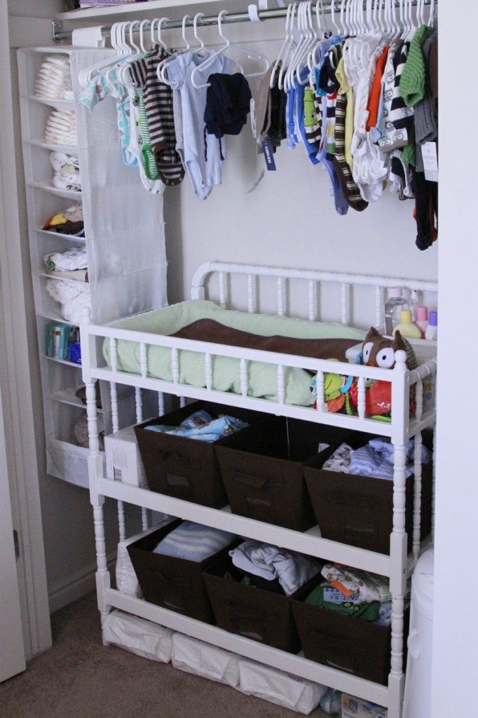Essentials hidden and organized in closet, great use of space! Maybe instead of dresser in closet put changing table inside.  I do this even now that my kids are a little older, easier to sort and see their clothes.