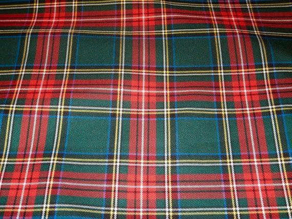 "PER METRE TARTAN ROYAL STEWART POLY VISCOSE SCOTTISH FABRIC CLOTH 58/"" WIDE"