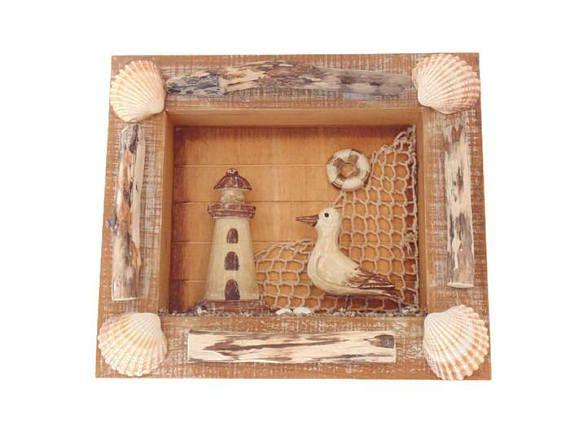 tableau marin cadre en bois flotté et coquillages  création