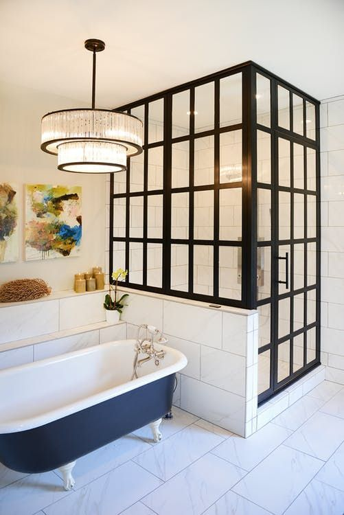 Bathroom Shower Doors Black Steel Frame Enclosures Apartment
