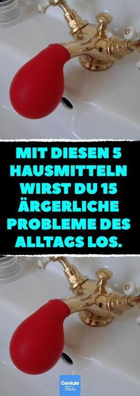 Mit diesen 5 Hausmitteln wirst du 15 ärgerliche Probleme des Alltags los. 5 vollkommen natürliche Putzmittel und 15 Arten, sie im Haushalt zu nutzen. #haushalt #hausmittel #putzen #life #hacks #toilette #essig